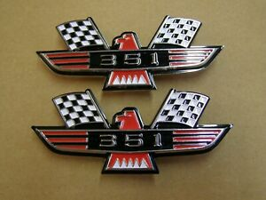Ford 351 Crossed Flag Fender Emblems Red Mustang Fairlane Galaxie Falcon 1965