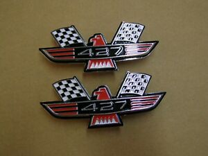 Ford 427 Crossed Flag Fender Emblems Red Mercury Fairlane Galaxie Falcon 1964