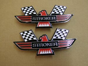 Ford Stroker Crossed Flag Fender Emblems Red Mustang Fairlane Galaxie Falcon
