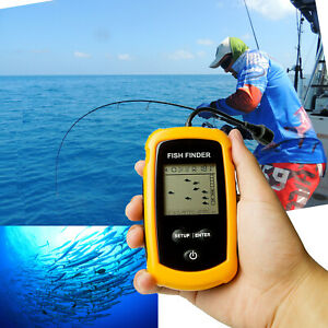 Handheld Fish Finder Portable Fishfinder Sonar Sensor Transducer LCD Display