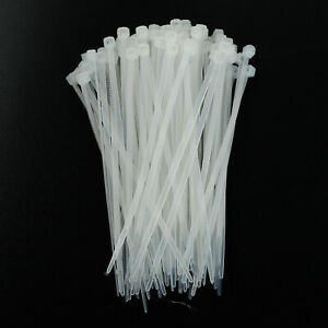 4 8 12 14 18 Self locking Nylon Plastic Cable Ties Wrap Wire Cord Zip White
