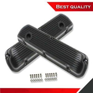 Suit Small Block Ford 289 302 351 Short Valve Cover Black Finned