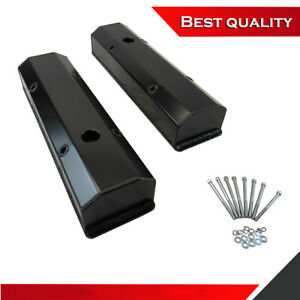 Suit 58 86 Sbc Chevy 327 350 383 Tall Valve Cover Aluminum Black Anodized