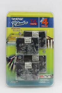 4 Pack Genuine Brother P touch Tz 1 2 12mm Laminated White Tape Tz 231 4pk