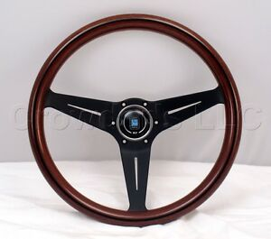 Nardi Steering Wheel Deep Dish Corn 350 Mm Mahogany Wood Black Classic Horn