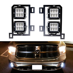 24w Cree Led Pods W Fog Lamp Mounting Brackets Wires For 2013 Up Dodge Ram 1500