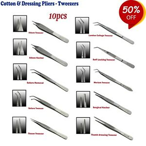 Range Of Surgical Dentist Cotton And Dressing Pliers Tweezers tissue Forceps