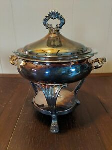 Vintage Fb Rogers Silver Plated Covered Casserole With Warming Stand