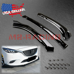 3pcs Gloss Black Front Bumper Lip Splitter Body Kit For 2014 2018 Mazda 6