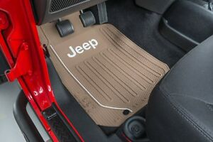 2 Front Floor Mats Oem Jeep Factory Logo Rubber Liners Tan All Weather Slush