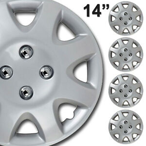 Wheel Cover Replacement Hubcaps 14 Inch Abs Silver Hub Cap 4pcs Set
