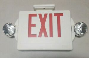 Lithonia Lighting Exit Sign W Emergency Lights White Plastic Free Shipping