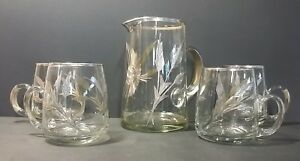 Mid Century Glass Pitcher Set With Silver Overlay And 4 Glasses Duck 4cups