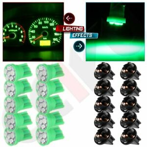 10x Green T10 194 6smd Led Bulbs Instrument Panel Cluster Dash Light Sockets