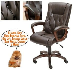 High Back Leather Executive Office Swivel Chair Soft Upholstered Arm Pads Brown
