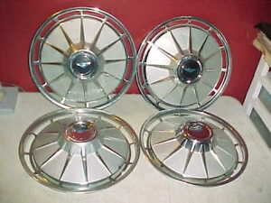 Vtg 1961 Chevrolet Corvair 13 Hubcaps Full Wheel Covers Good Driver Chevy Caps
