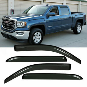 Out Channel 4 Window Visors For 14 18 Silverado Sierra Crew Cab Vent Shade Guard