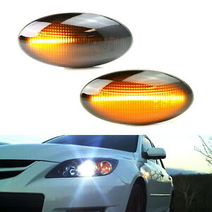 Smoked Sequential Amber Led Side Marker Light For 04 11 Mazda3 06 10 Mazda5 Etc