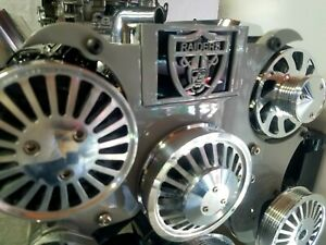 Raiders Complete Serpentine Front Pulley Drive System Billet Complete Sbc Silver