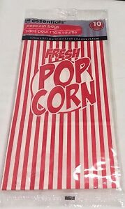 New Essentials Popcorn Bags 10 Count 5 25 X 3 25 X 10 Red White