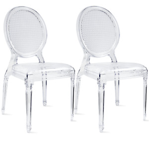 Set Of 2 Stackable Transparent Molded With Oval Back Armless Side Dining Chair