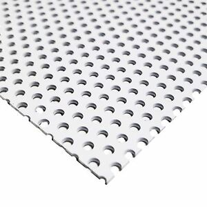 White Painted Aluminum Perforated Sheet 0 040 X 12 X 24 1 8 Holes