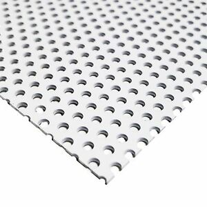 White Painted Aluminum Perforated Sheet 0 040 X 24 X 24 1 8 Holes