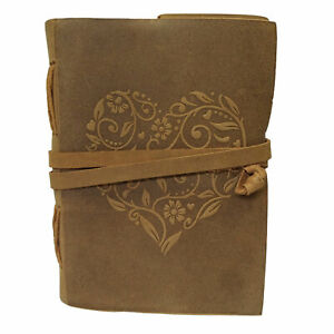 Genuine Leather Book Heart Shape Cover Bound Diary Blank Notepad Daily Planner