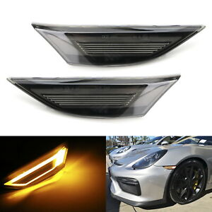 Gt Rs Style Amber Led Front Side Marker Light For Porsche 991 Carrera 718 Cayman