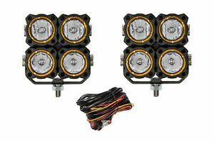 Kc Hilites 280 Flex Led Off Road Light Quad Combo Beam System 40w Pair