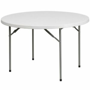 Flash Furniture 48 Round Plastic Folding Table In Granite White