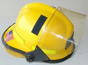 Cairns 660c Metro Firefighter Helmet Yellow With 4 Tuffshield And Earlap Euc