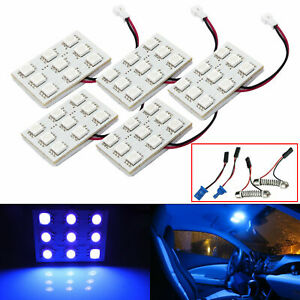 5pcs Festoon T10 168 Blue Led 9 Smd Panel Interior Dome Map Lights For Ford