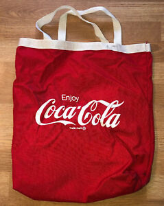 "Coca Cola Tote Bag for Beach or Everyday Use Red & White 15""x16"" vintage COKE"