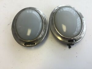 Pair Art Deco Frosted Oval Dome Lights Packard Stutz Buick Ford Dodge