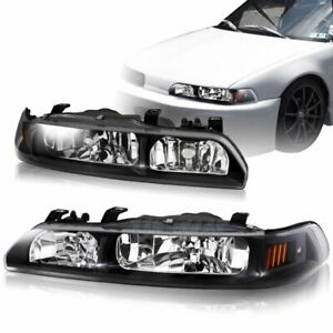 For 1990 1993 Acura Integra Black Housing 1 piece Headlights W amber Reflector