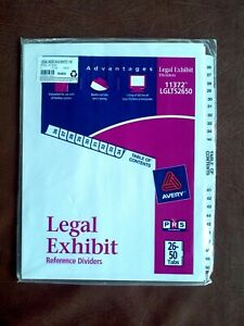 New Avery Legal Exhibit Side Dividers 26 50 Tabs 11372 Lglts2650