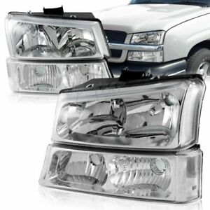 For 2003 2006 Chevy Silverado Avalanche 1500 2500 Chrome Clear Headlights Lamps