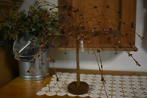 New Primitive Mustard Burgundy Pip Berry Willow Tree With Stars Home Decor