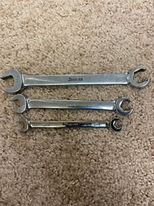 Snap On Tools Open Flare Nut Combination Wrench Set 11 16 1 2 3 8 nice