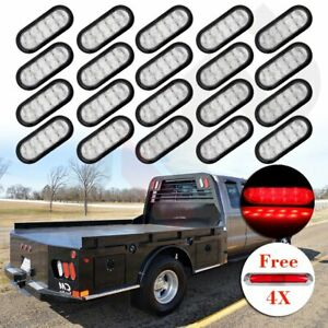 20x Red 10 Led Oval Car Stop Turn Tail Light Side Marker For Van Truck Trailer