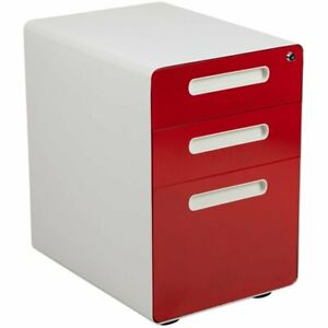 Flash Furniture 3 Drawer Modern Mobile File Cabinet In White And Red