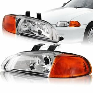 For 1992 1995 Honda Civic 4dr Chrome Housing 1 piece Headlight W amber Reflector