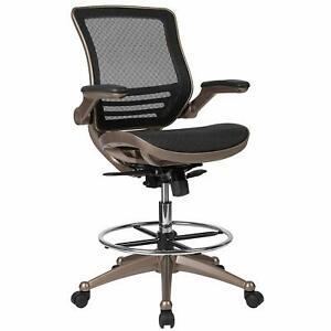 Flash Furniture Drafting Chair Mid back Mesh Drafting Chair With Arms New
