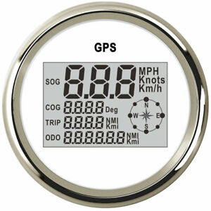 85mm Gps White Speedometer Odo Trip Mph Kph Knots For Car Truck Marine Usa Stock