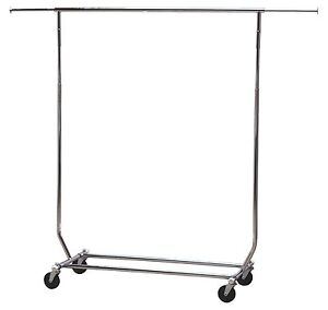 Rolling Clothes Stand Hanger Holder Garment Rack Commercial Drying Stand Rod New