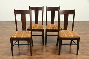 Set 4 Arts Crafts Mission Oak Antique Craftsman Dining Chairs Striped 30569