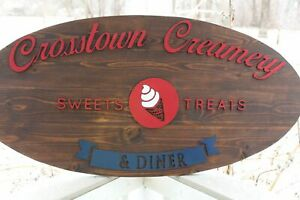 Large Custom Business Sign Ice Cream Shop Oval We Use Your Graphic And Colors