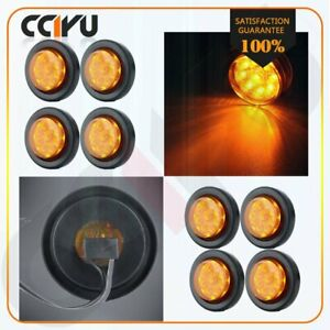 8 Amber Side Marker Truck Trailer Clearance Light Round 9 Led With Grommet 2