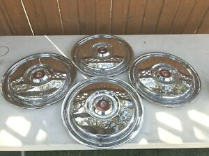 Set Of 4 1955 1957 Ford Thunderbird Hubcaps Original Excellent Condition 15